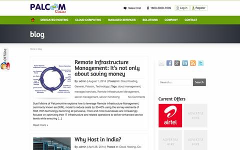 Screenshot of Blog palcomonline.com - Blog - Palcom Online Services India Pvt. Ltd.   Palcomonline - captured Oct. 1, 2014