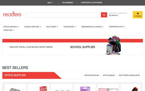 Screenshot of Home Page readers.in - Buy School Stationery, Kits for Business | Cleaning  - Office Supplies Online India | Readers.in - captured Nov. 29, 2016