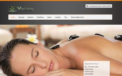 Screenshot of Home Page vlmassage.com - Fort Wayne Massage | Vital Living WellSpa Fort Wayne Indiana - captured Oct. 8, 2014