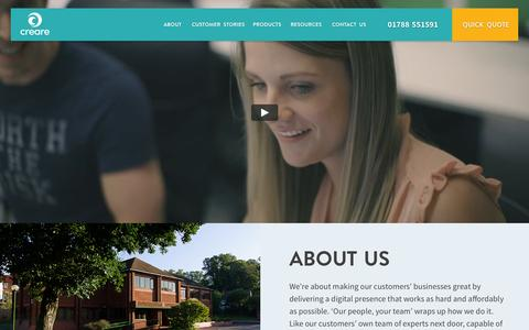 Screenshot of About Page creare.co.uk - Our People, Your Team - About Creare - captured Oct. 21, 2015