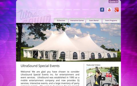 Screenshot of About Page ultraparty.com - UltraSound Special Events - captured Oct. 27, 2014
