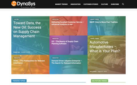 Screenshot of Blog dys.com - Building the Future of your Supply Chain | Dynasys Blog - captured Oct. 7, 2018