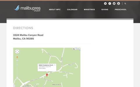 Screenshot of Maps & Directions Page malibupres.org - Malibu Presbyterian Church: Malibu, CA > Directions - captured Dec. 17, 2018
