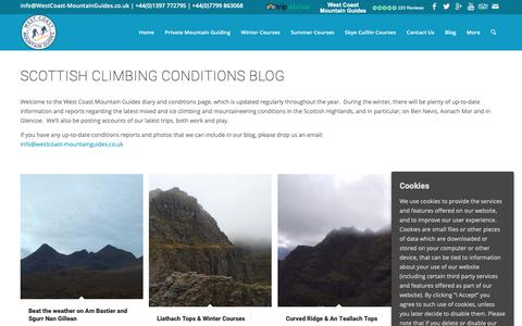 Screenshot of Blog westcoast-mountainguides.co.uk - Latest News and Conditions - West Coast Mountain Guides - captured Oct. 20, 2018
