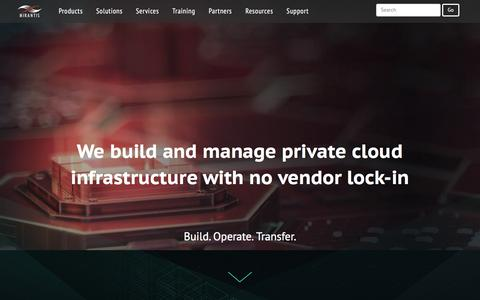 Screenshot of Home Page mirantis.com - Mirantis | The Pure Play OpenStack Company - captured Aug. 27, 2016