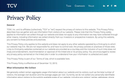 Screenshot of Privacy Page tcv.com - Privacy Policy - TCV - captured June 27, 2017