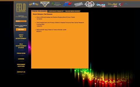 Screenshot of Press Page feldentertainment.com - Press Releases - captured Jan. 8, 2016