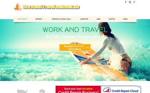 Screenshot of Home Page work-and-travel-weltweit.de - *** WORK AND TRAVEL   Australien *** USA    Kanada   Neuseeland 2014/2015 - captured Sept. 24, 2014