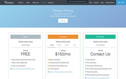 Screenshot of Pricing Page apteligent.com - Apteligent: Choose a Plan and get Mobile App Intelligence. - captured March 30, 2016