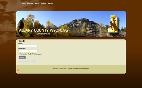 Screenshot of Login Page albany.wy.us - Sign In - Albany County Wyoming - captured Oct. 4, 2014