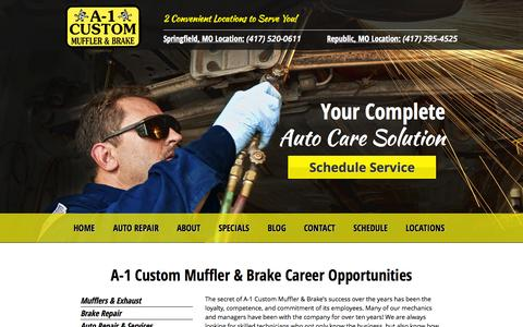 Screenshot of Jobs Page a-1customautorepair.com - Career Opportunities | A-1 Custom Muffler & Brake - captured Nov. 2, 2014