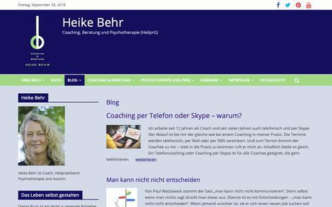 Screenshot of Blog heikebehr.de - Blog Heike Behr Coaching und Beratung, Psychotherapie - captured Sept. 28, 2018