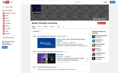 Screenshot of YouTube Page youtube.com - Bacalor Strategic Consulting  - YouTube - captured Oct. 23, 2014