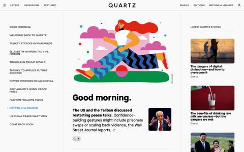 Screenshot of Home Page qz.com - Quartz — Global news and insights for leaders - captured Oct. 13, 2019