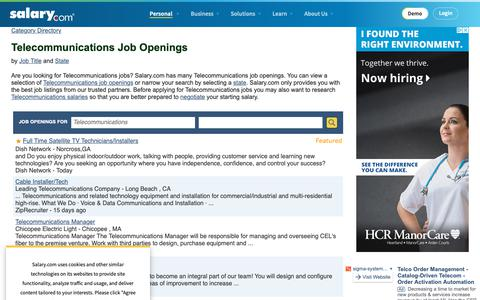 Screenshot of Jobs Page salary.com - Telecommunications Job Openings | Salary.com - captured Oct. 26, 2018
