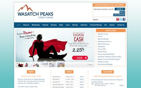 Screenshot of Home Page wasatchpeaks.com - Wasatch Peaks Credit Union - Home - captured Oct. 6, 2014