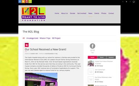 Screenshot of Blog meant2live.org - Meant 2 Live Foundation - captured Oct. 8, 2014