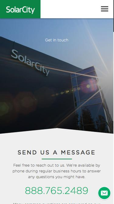 Screenshot of Contact Page  solarcity.com - Solar Power Company - Best Solar Power Companies | SolarCity