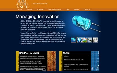 Screenshot of Home Page koslaw.com - Intellectual Property Lawyers | Klein, O'Neill & Singh LLP - captured Oct. 6, 2014
