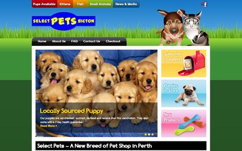 Screenshot of Home Page selectpets.com.au - Pet Shops Perth – Large range of Pets & Supplies | Selects Pets Bicton - captured Oct. 7, 2014