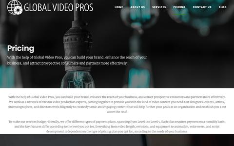 Screenshot of Pricing Page globalvideopros.com - Pricing - Global Video Pros - captured Nov. 5, 2018