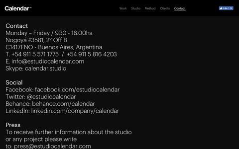 Screenshot of Contact Page estudiocalendar.com - Contact — Calendar - captured Oct. 16, 2016