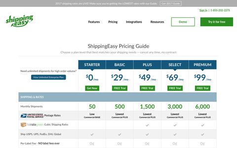 Screenshot of Pricing Page shippingeasy.com - ShippingEasy Pricing and Plans - captured Nov. 13, 2017