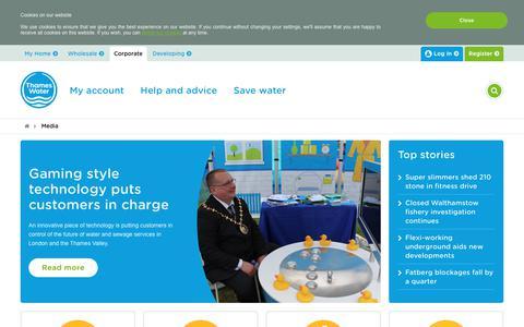 Screenshot of Press Page thameswater.co.uk - Media - Thames Water - captured June 13, 2017
