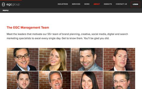 Screenshot of Team Page egcgroup.com - EGC Full-Service Advertising | Management Team | Long Island, NY - captured Oct. 7, 2014