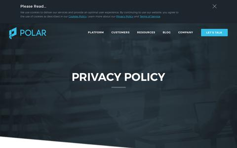 Screenshot of Privacy Page polar.me - Privacy Policy | Polar - captured June 2, 2018