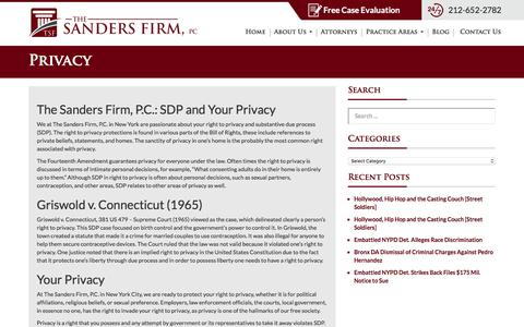 Screenshot of Privacy Page thesandersfirmpc.com - SDP, Privacy | The Sanders Firm, P.C. - New York Civil Rights Lawyer - captured Nov. 17, 2017