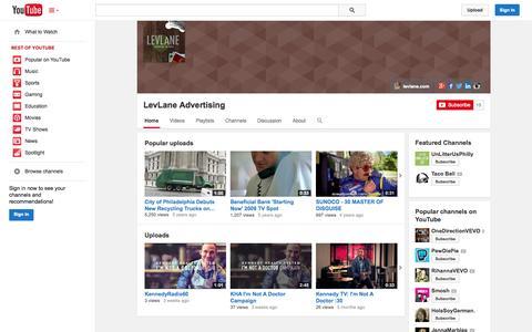 Screenshot of YouTube Page youtube.com - LevLane Advertising  - YouTube - captured Oct. 22, 2014