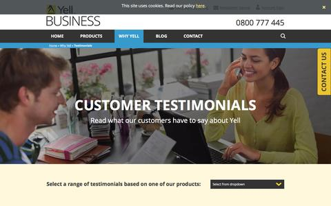 Screenshot of Testimonials Page yell.com - Testimonials   Yell Business   hibu UK - captured April 15, 2016