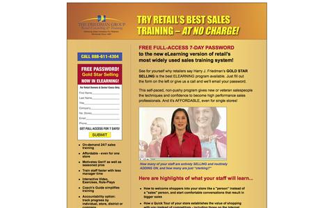 Screenshot of Landing Page thefriedmangroup.com - Try Retail's Best Sales Training - at NO Charge! - captured Oct. 27, 2014