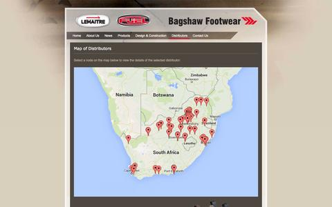 Screenshot of Maps & Directions Page bagshaw.co.za - Map of Distributors | Safety Shoes | Safety Footwear | Safety Shoe Suppliers | Steel Toe Safety Shoes | Bagshaw Footwear - captured Oct. 5, 2014