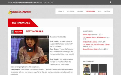 Screenshot of Testimonials Page couponsonakeychain.com - Coupons on a key chain, London, Ontario, consumer feedback | Coupons on a Keychain - captured Dec. 12, 2015