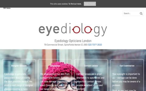Screenshot of Home Page eyediologyopticians.co.uk - Eyediology Opticians London | Sunglasses Designer Glasses | Eye Tests - captured May 23, 2017