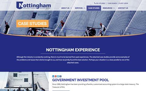 Screenshot of Case Studies Page ncfunds.com - Financial & Fund Management Case Studies: Nottingham Investments - captured Dec. 11, 2016