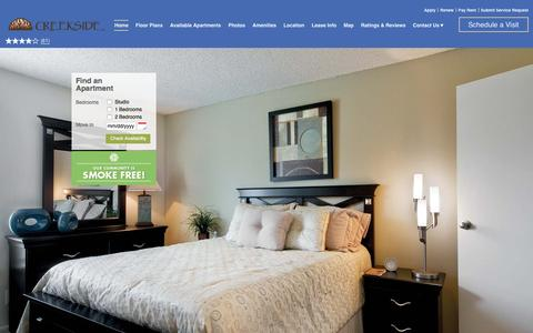 Screenshot of Home Page creeksideapartmenthomes.com - Creekside Apartments | Denver, CO | Home - captured Jan. 31, 2016