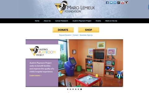 Screenshot of Home Page mariolemieux.org - Home - Mario Lemieux Foundation - captured Sept. 30, 2017