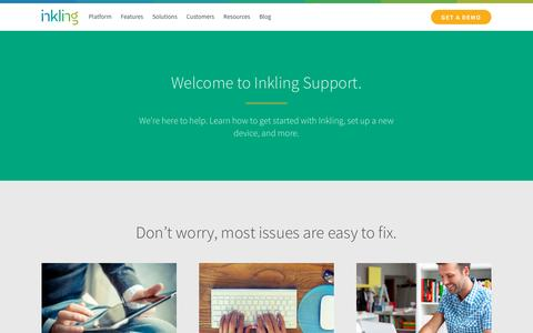 Screenshot of Support Page inkling.com - Get support for the Inkling platform | Inkling - captured Nov. 3, 2015