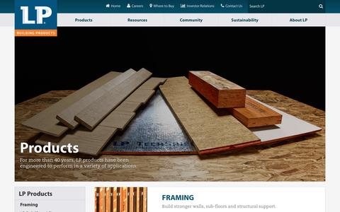 Screenshot of Products Page lpcorp.com - Our Products | LP Building Products - captured Jan. 18, 2016