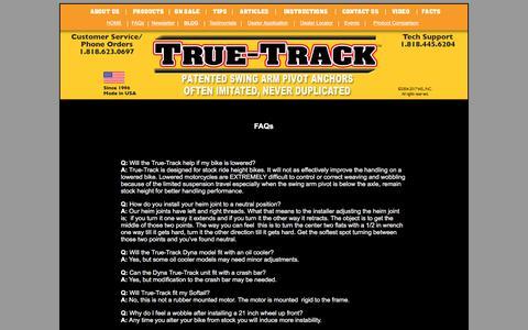 Screenshot of FAQ Page true-track.com - The Original True-Track - captured Feb. 10, 2018