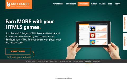 Screenshot of Developers Page softgames.de - Making Money With HTML5 games / publisher for HTML5 - captured June 26, 2017