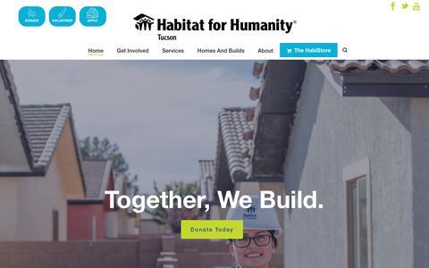 Screenshot of Home Page habitattucson.org - Home ⋆ Habitat for Humanity Tucson - captured July 11, 2017