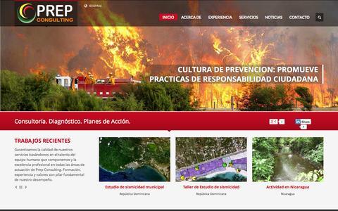 Screenshot of Home Page prepconsulting.net - PREP Consulting | Consultoría en prevención de desastres y riesgos naturales - captured Jan. 21, 2015