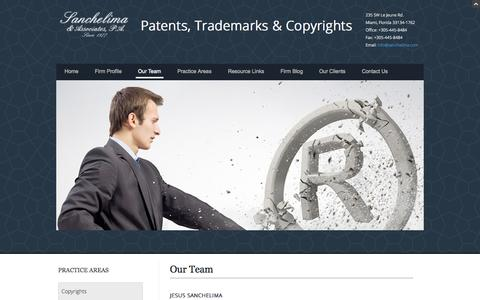 Screenshot of Team Page sanchelima.com - Intellectual Property Lawyers | Sanchelima Law Firm - captured Nov. 2, 2014