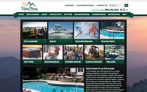 Screenshot of Home Page alpinhaus.com - Alpin Haus Dealership Group Amsterdam NY | New York dealer of Skis, Snowboards, Pools, Spas, Boats, RVs and Snowmobiles - captured Sept. 30, 2014