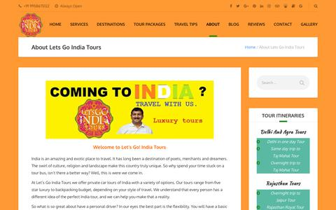 Screenshot of About Page letsgoindiatours.com - About Lets Go India Tours - Lets Go India Tours - captured Oct. 27, 2018