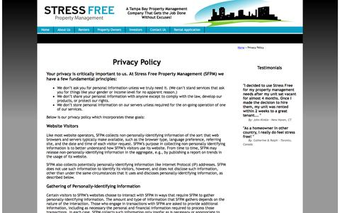 Screenshot of Privacy Page stressfreepropertymanagement.com - Privacy Policy : Property Manager Clearwater : Tampa : NoVacancyNow.com - captured Dec. 16, 2016